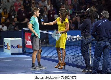 Arena O2, London, UK – November 18, 2017: Professional Tennis player David Goffin from Belgium intervieweing after winning a match against Roger Federer during the Nitto ATP semi-finals at O2 Arena