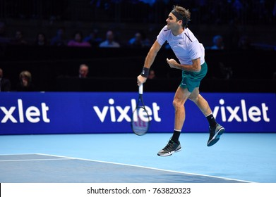 Arena O2, London, UK – November 18, 2017: Professional Swiss Tennis player Roger Federer in action during the Nitto ATP semi-finals match against David Goffin from Belgium at O2 indoor Arena