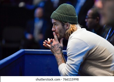 Arena O2, London, UK – November 19, 2017: TENNIS, David Beckham enjoy the final game between Grigor Dimitrov & David Goffin at Nitto ATP Finals World Tour in London's indoor Arena O2