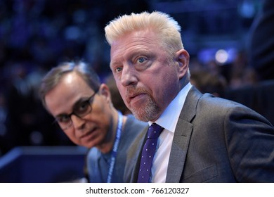 Arena O2, London, UK – November 19, 2017: Great tennis player Boris Becker enjoy the final game between Grigor Dimitrov & David Goffin at Nitto ATP Finals World Tour in London's indoor Arena O2