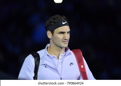 Arena O2, London, UK – November 18, 2017: - Switzerland's tennis player Roger Federer playing semi-final match against Belgium's David Goffin during the Semi Final Nitto ATP Finals 2017 in O2 indoor