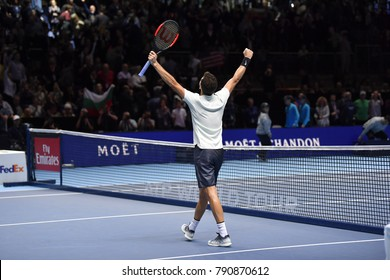 Arena O2, London,UK – November 19, 2017: Tennis player Grigor Dimitrov from Bulgaria playing his victorious match against David Goffin from Belgium during the final match of the Nitto ATP Finals 2017