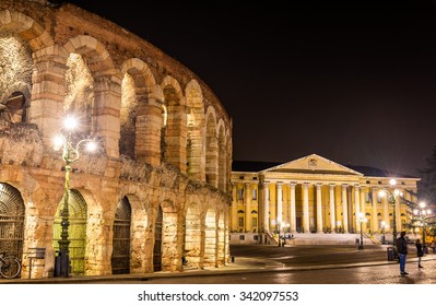 The Arena and Palazzo Barbieri in Verona - Italy