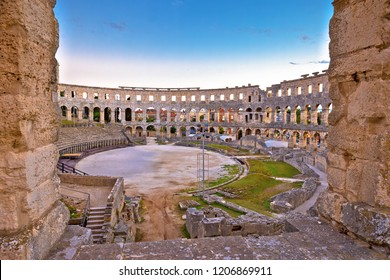 Arena Pula historic Roman amphitheater view, Istria region of Croatia