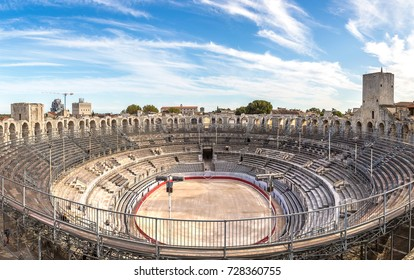Arena and roman amphitheatre in Arles, France in a beautiful summer day