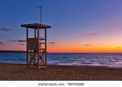 Arenal beach near Palma de Mallorca in sunset time. Mallorca island, Spain Mediterranean Sea, Balearic Islands.