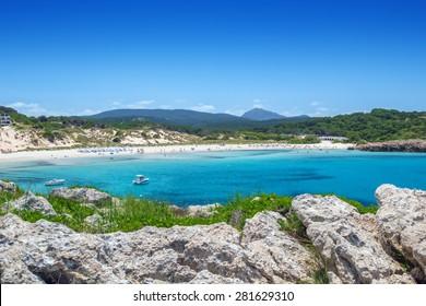 Arenal de Son Saura beach at Menorca island, Spain.