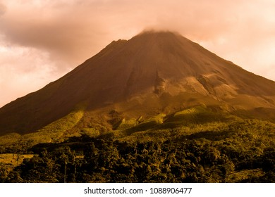 Arenal volcano at dusk, Costa Rica