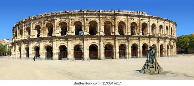 The arenas of Nimes and the toreador ,Occitanie,France.