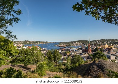 Arendal city, seen from a height, on a sunny day in june 2018. Arendal is a small town in the south part of Norway