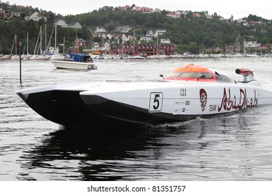 ARENDAL - JUL 16: Boat 5, Team Abu Dhabi, UAE. Norwegian Grand Prix. July 16, 2011. in Arendal Norway