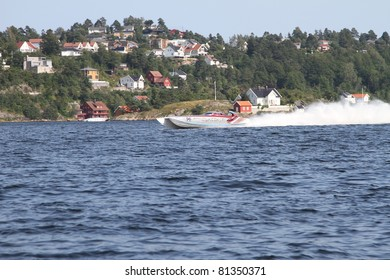ARENDAL - JUL 16: Boat 95 and 96, Team: Spirit of Qatar. Norwegian Grand Prix. July 16, 2011. in Arendal Norway