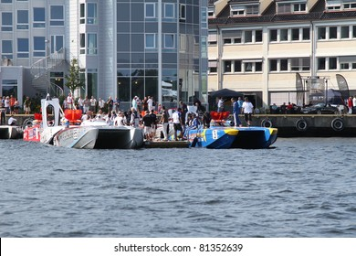 ARENDAL - JUL 16: Boats in the Wet pit befor start . Norwegian Grand Prix. July 16, 2011. in Arendal Norway