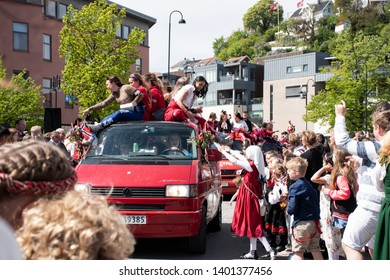 ARENDAL - MAY 17, 2019: Norwegian Constitution Day is the National Day of Norway and is an official national holiday observed on May 17 each year. Pictured on May 17, 2019