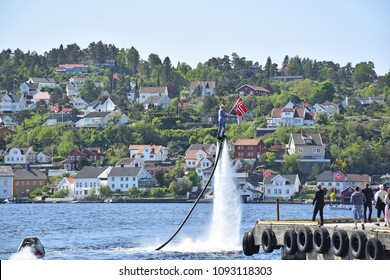 ARENDAL - MAY 17: Norwegian Constitution Day is the National Day of Norway and is an official national holiday observed on May 17 each year. Pictured on May 17, 2018.