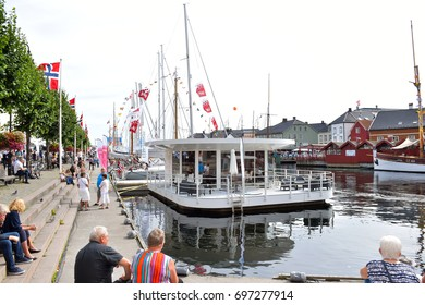 ARENDAL, NORWAY - AUGUST 16, 2017: Many peoples boats and many peoples in the center of city in Arendal, Norway, for Arendal week. All of the political in Norway are in Arendal city this week.