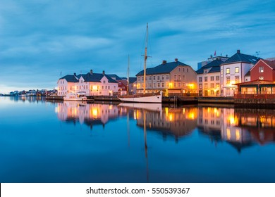 ARENDAL, Norway - January 7th, 2017: Traditional sailboat in Pollen harbour in Arendal, Norway on January 7th, 2017.