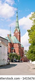 ARENDAL NORWAY - JULY 04, 2019 : Old Church in the Arendal City building from the red brick in the, Norway. 2019.
