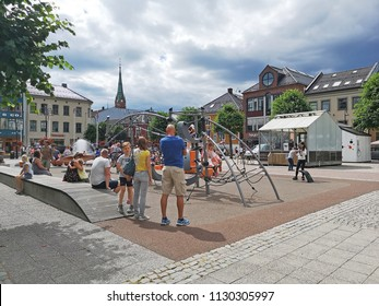 Arendal, Norway. July 2018. A small town and administrative centre of Arendal municipality in Aust-Agder the southern, people enjoying in the city. Norway.