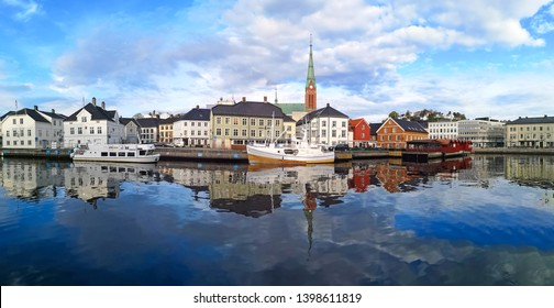 ARENDAL NORWAY - MAY 14, 2019 : Fishing boat in Pollen harbour in Arendal, Norway.