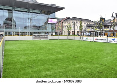 ARENDAL NORWAY - MAY 25, 2019 : City Football Field in front of the culture house office in Arendal city, Norway in May 25, 2019.