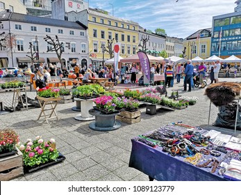 Arendal, Norway - May12, 2018: The Norwegian Farmer's Market - Bondens marked, retail outlet for short-range food , where the products are locally produced manufactured the goods themselves.