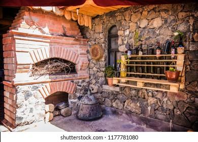 ARENI, ARMENIA - June 2018: Areni winery factory interior, traditional Armenian wine factory, Armenia