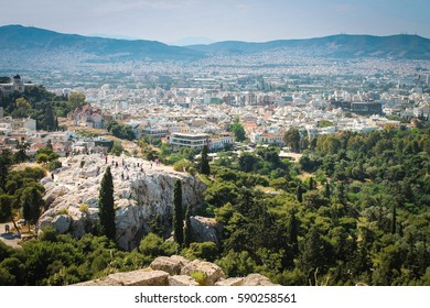 Areopagus (Mars Hill) overlooking the city of Athens