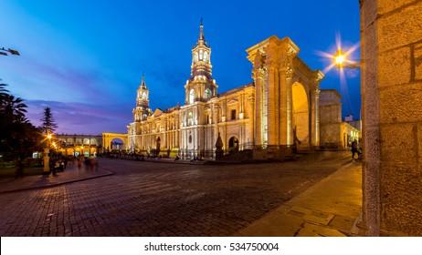 Arequipa by night, plaza de Armas, Peru