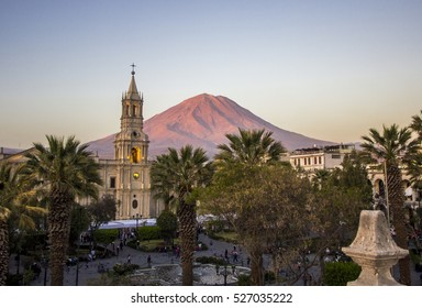 Arequipa Church with the Misti Volcano Behind  on sunset, Arequipa in Peru
