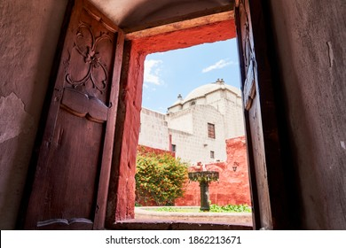 Arequipa, Peru - 02 03 2019: Monastery of Santa Catalina de Siena in the city of Arequipa, Peru, South America, is run by nuns, who never the monastery.