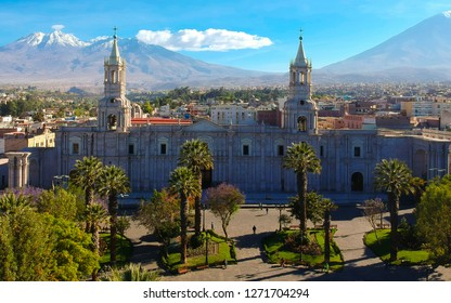 AREQUIPA / PERU - 12.12.2018 CATHEDRAL & PLAZA DE ARMAS of AREQUIPA - PERU from a bird (drone) eye view with mountains in the background