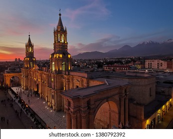 Arequipa, Peru: cathedral in the main square, Plaza de Armas, at sunset and colorful streets of Santa Catalina monastery