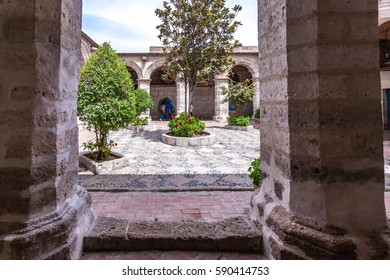 Arequipa, Peru - December 11, 2016:Typical colonial architecture feature in the Monastery of Santa Catalina in Areuipa,Peru.