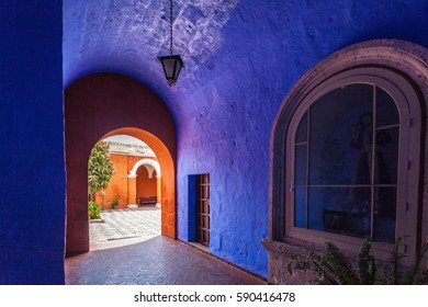 Arequipa, Peru - December 11, 2016:Typical colonial architecture featured in the Monastery of Santa Catalina in Areuipa,Peru.