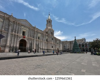 Arequipa / Peru - December 16 2018: The Basilica Cathedral of Arequipa with christmas tree