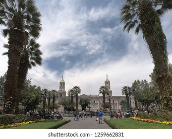 Arequipa / Peru - December 16 2018: The Basilica Cathedral of Arequipa, Central Park - Plaza de armas