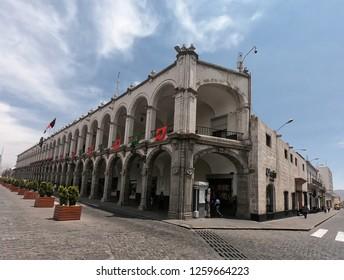 Arequipa / Peru - December 16 2018: Corner in the central park - Plaza de Armas