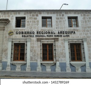 Arequipa, Peru - December 20, 2012: front view of public library named after famed writer Mario Vargas Llosa