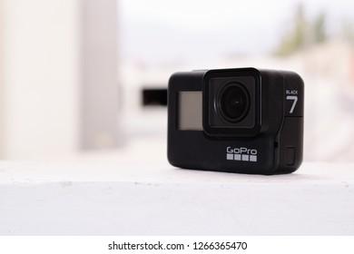 Arequipa / Peru December 24 2018: New action camera gopro hero 7 black