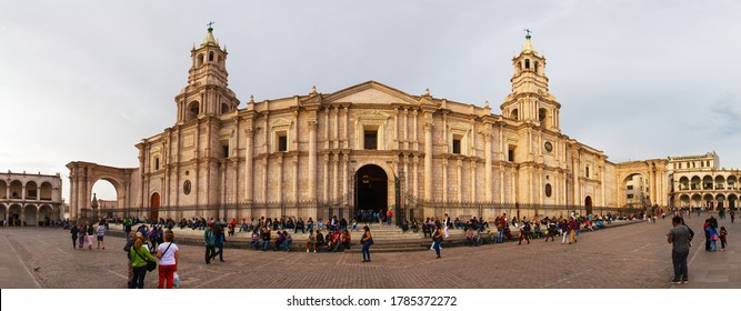Arequipa, Peru - March 7 2019: Basilica cathedral de Arequipa on Plaza de Armas main square of Arequipa city, one of the best cities in Peru with local peoples and tourists