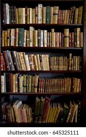 Arequipa, Peru - March 9, 2011: Books in the Ricoleta Library on March 9, 2011 in Arequipa, Peru. Ricoleta Library is the oldest library in Peru and Latin America