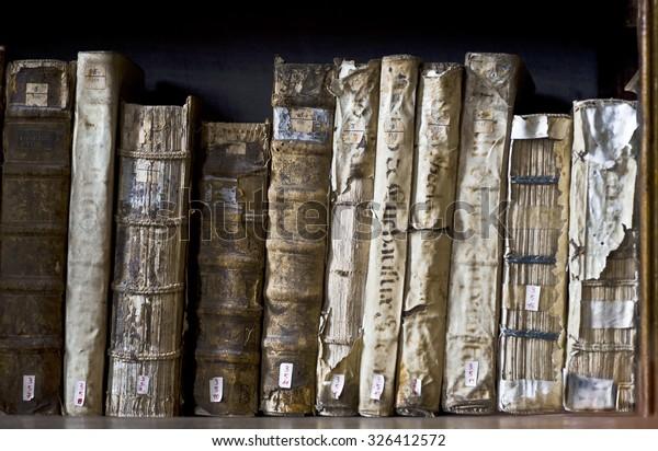 AREQUIPA, PERU, MARCH 9 - Books in the Ricoleta Library on March 9, 2011 in Arequipa, Peru. Ricoleta Library is the oldest library in Peru and Latin America
