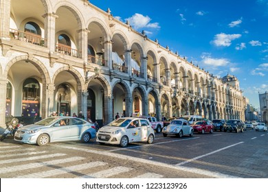 AREQUIPA, PERU - MAY 26, 2015: Colonial houses on Plaza de Armas square in Arequipa, Peru