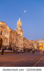 AREQUIPA, PERU - MAY 29, 2015: Cathedral at Plaza de Armas square in Arequipa, Peru.
