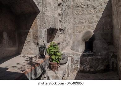 AREQUIPA, PERU - MAY 30, 2015: Kitchen in Santa Catalina monastery in Arequipa, Peru