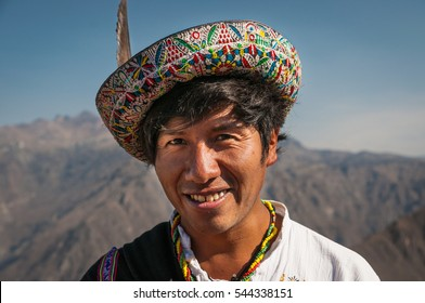 AREQUIPA, PERU - OCTOBER 8: Portrait of a Native Peruvian man wearing typical hat
