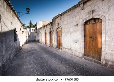 AREQUIPA, PERU: Street of San Lazaro town in HDR.