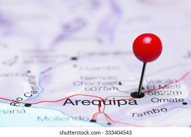 Arequipa pinned on a map of America