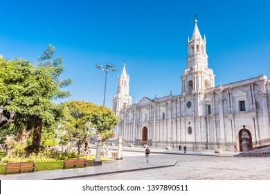 Arequipa,Peru:Jan 24,2017- Plaza de Armas Arequipa, Peru. South America.